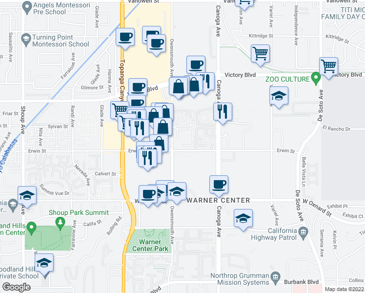 map of restaurants, bars, coffee shops, grocery stores, and more near 21601 Erwin Street in Los Angeles