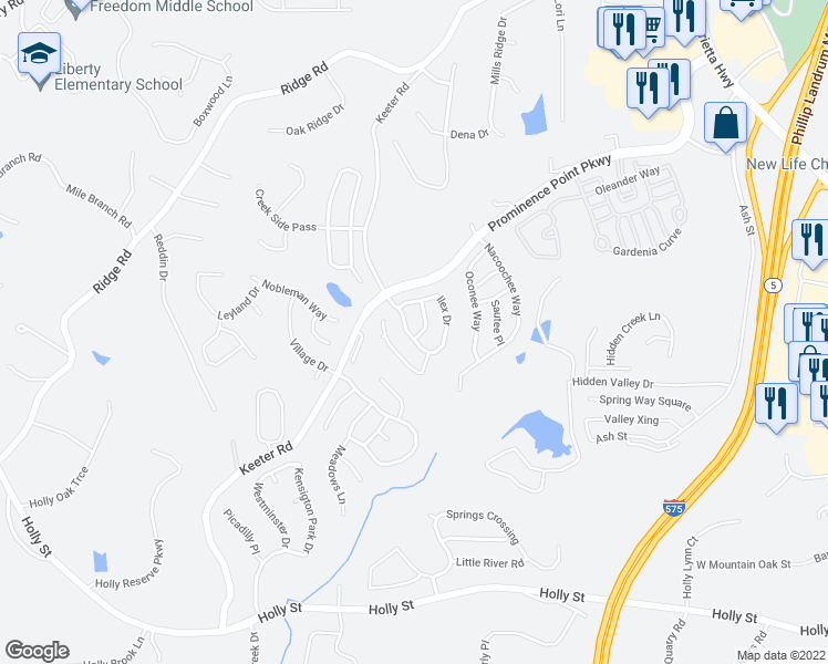 map of restaurants, bars, coffee shops, grocery stores, and more near 111 Ilex Drive in Canton