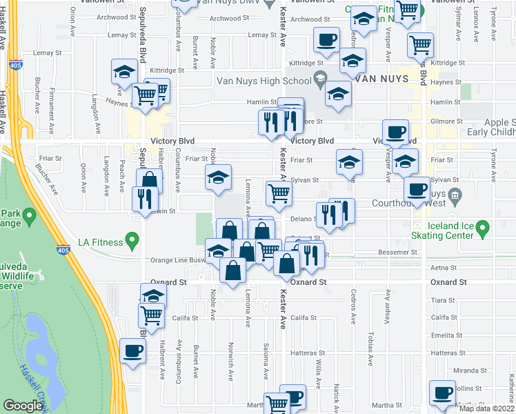 map of restaurants, bars, coffee shops, grocery stores, and more near 6234 Lemona Avenue in Los Angeles
