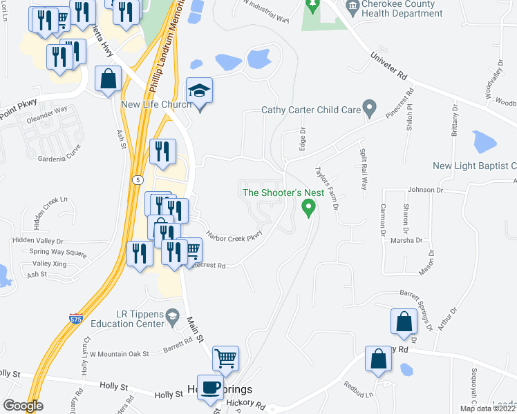map of restaurants, bars, coffee shops, grocery stores, and more near 501 Harbor Creek Parkway in Canton