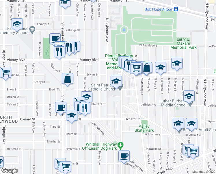 map of restaurants, bars, coffee shops, grocery stores, and more near 6206 Cartwright Avenue in Los Angeles