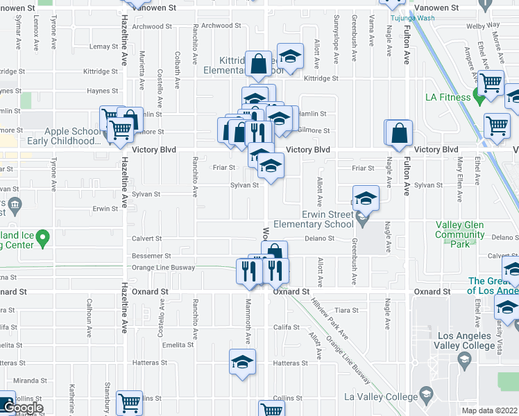 map of restaurants, bars, coffee shops, grocery stores, and more near 6210 Woodman Avenue in Los Angeles