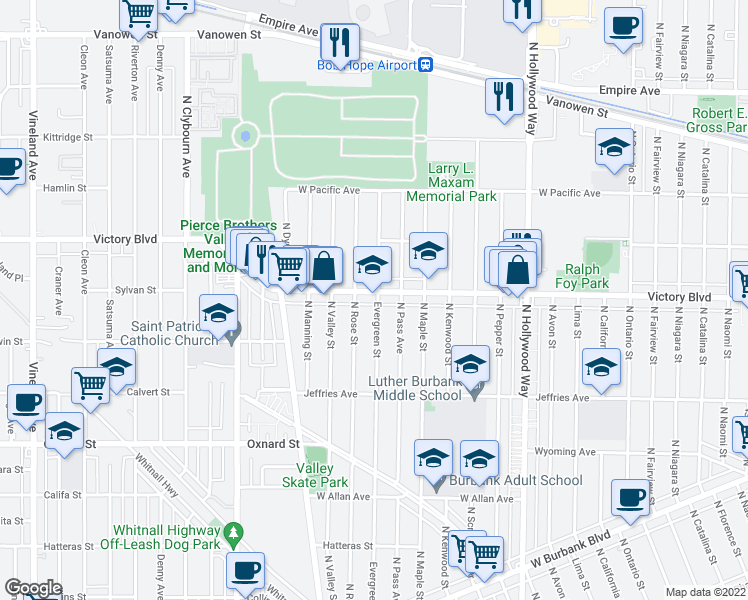 map of restaurants, bars, coffee shops, grocery stores, and more near 4101-4199 Victory Boulevard in Burbank