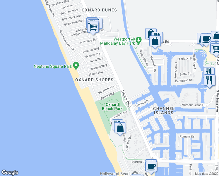 map of restaurants, bars, coffee shops, grocery stores, and more near Shoreline Way in Oxnard