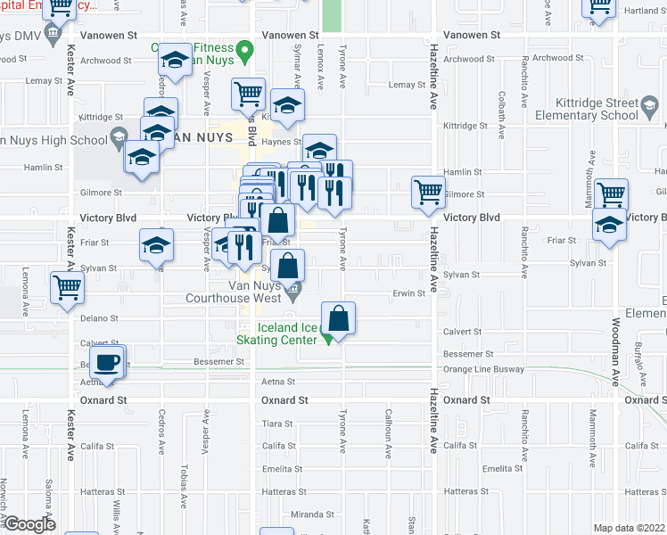 map of restaurants, bars, coffee shops, grocery stores, and more near 6260 Tyrone Avenue in Los Angeles