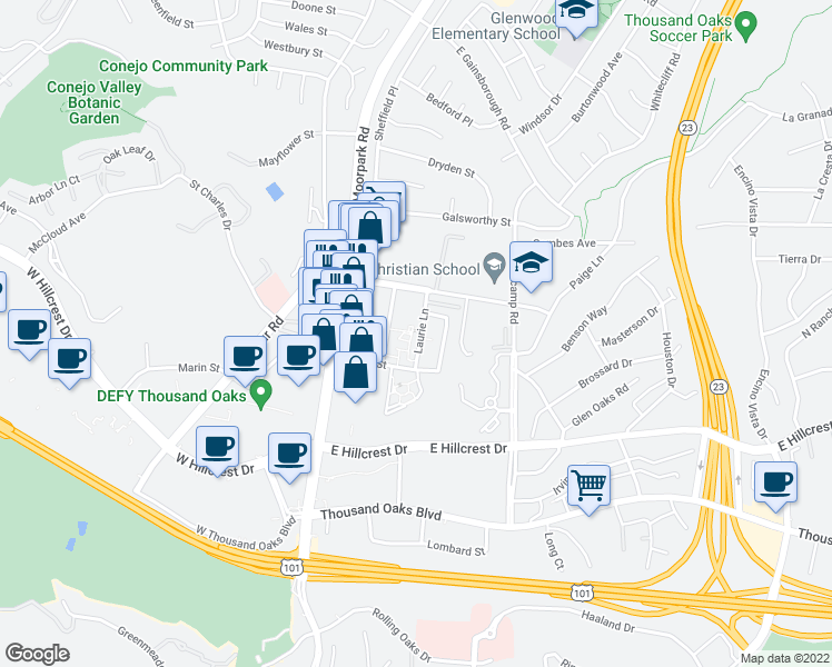 map of restaurants, bars, coffee shops, grocery stores, and more near 555 Laurie Lane in Thousand Oaks