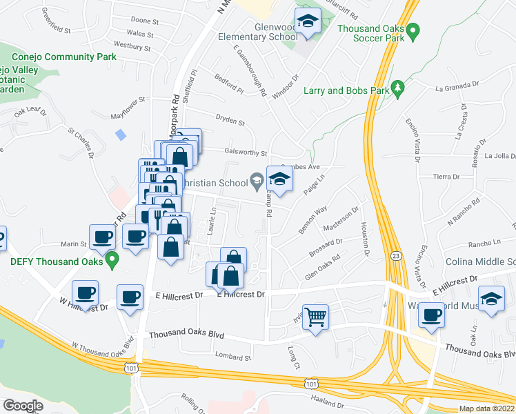 map of restaurants, bars, coffee shops, grocery stores, and more near 450 East Wilbur Road in Thousand Oaks