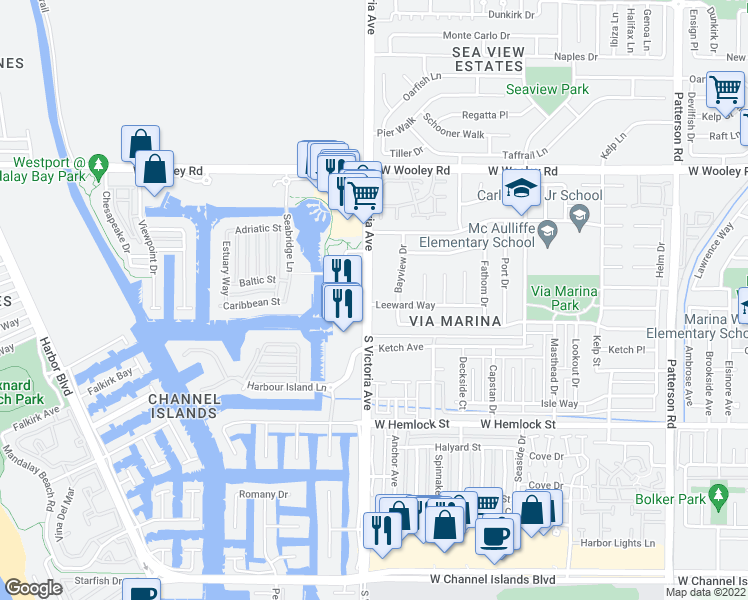 map of restaurants, bars, coffee shops, grocery stores, and more near 1460 South Victoria Avenue in Oxnard