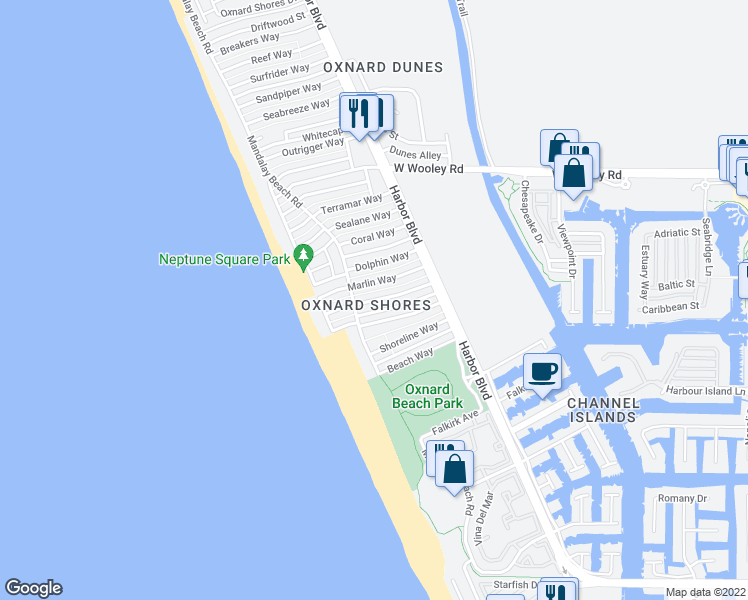 map of restaurants, bars, coffee shops, grocery stores, and more near Corbina Way in Oxnard