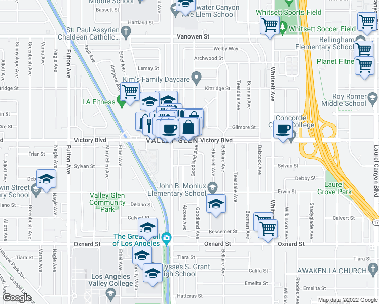 map of restaurants, bars, coffee shops, grocery stores, and more near 12813 Friar Street in North Hollywood