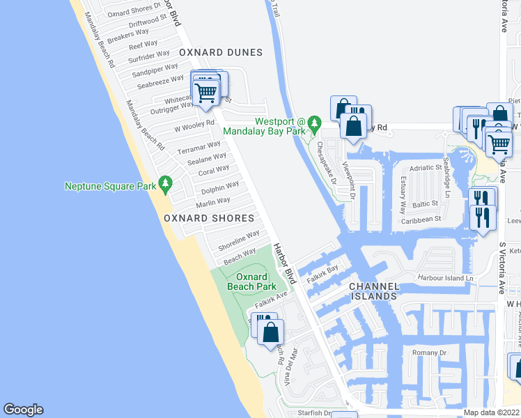 map of restaurants, bars, coffee shops, grocery stores, and more near Harbor Blvd & Island View St in Oxnard