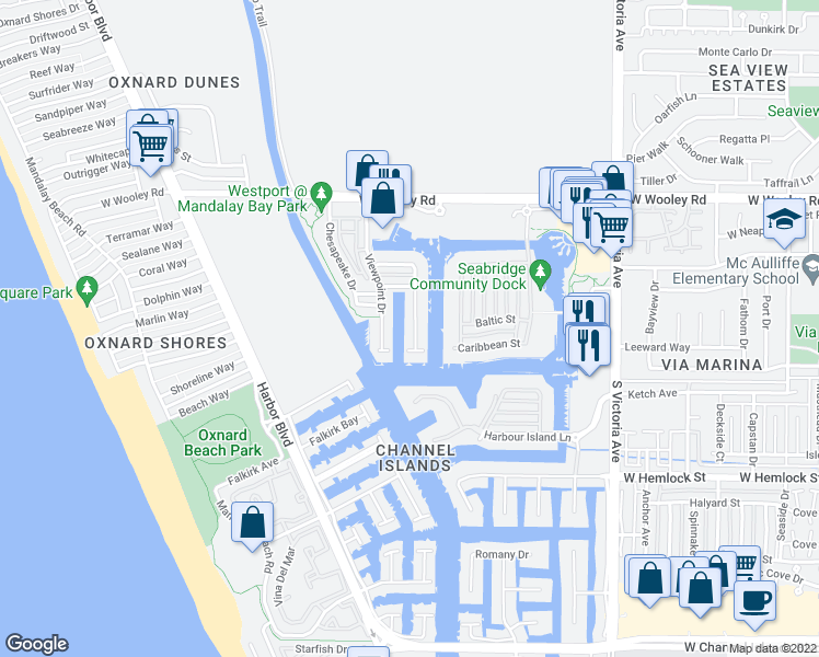 map of restaurants, bars, coffee shops, grocery stores, and more near 1513 Twin Tides Place in Oxnard