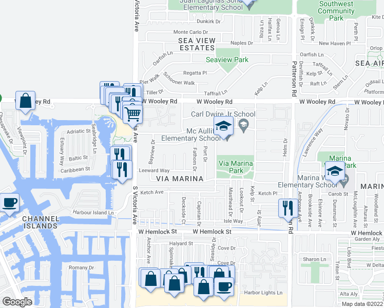 map of restaurants, bars, coffee shops, grocery stores, and more near 1431 Fathom Drive in Oxnard