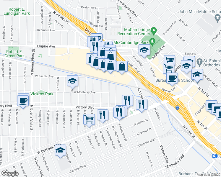 map of restaurants, bars, coffee shops, grocery stores, and more near 1314 North Beachwood Drive in Burbank