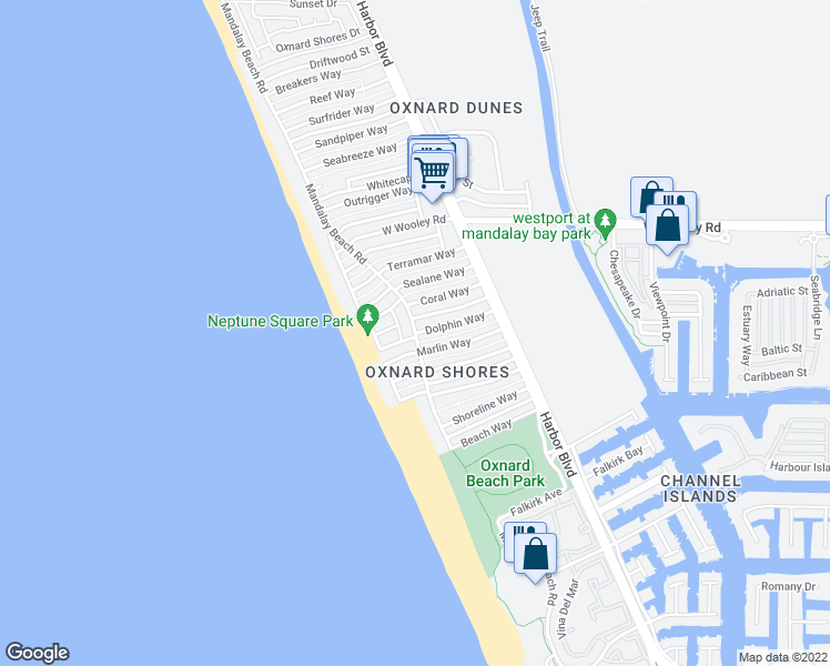 map of restaurants, bars, coffee shops, grocery stores, and more near Mandalay Beach Road in Oxnard
