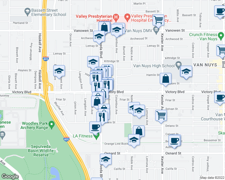 map of restaurants, bars, coffee shops, grocery stores, and more near 15215 Victory Blvd in Van Nuys