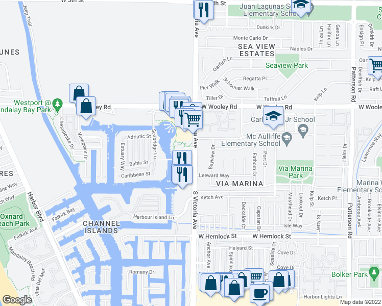 map of restaurants, bars, coffee shops, grocery stores, and more near 1408 Windshore Way in Oxnard
