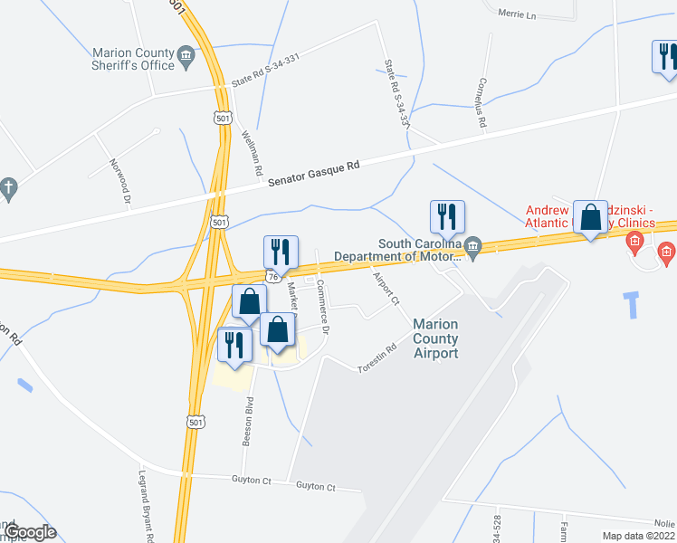 map of restaurants, bars, coffee shops, grocery stores, and more near 2697 Highway 76 in Mullins