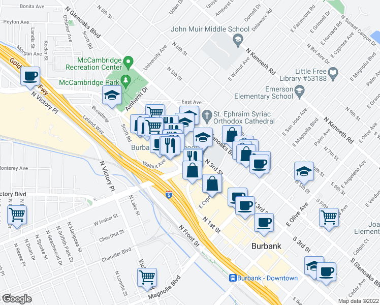 map of restaurants, bars, coffee shops, grocery stores, and more near 231 East Burbank Boulevard in Burbank