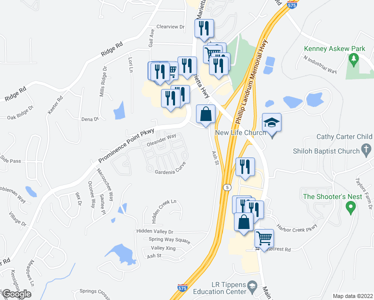 map of restaurants, bars, coffee shops, grocery stores, and more near 102 Oleander Way in Canton