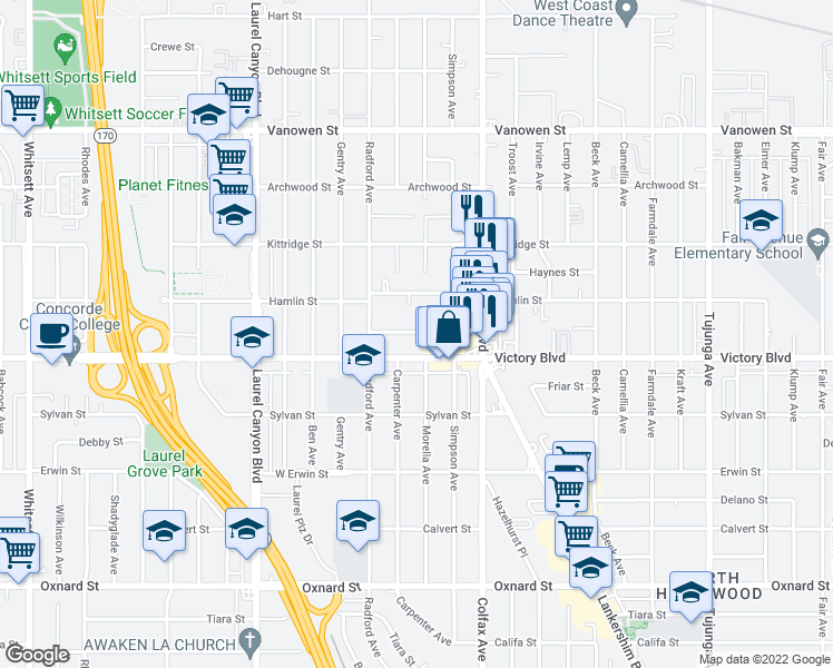 map of restaurants, bars, coffee shops, grocery stores, and more near 11825 Gilmore Street in Los Angeles