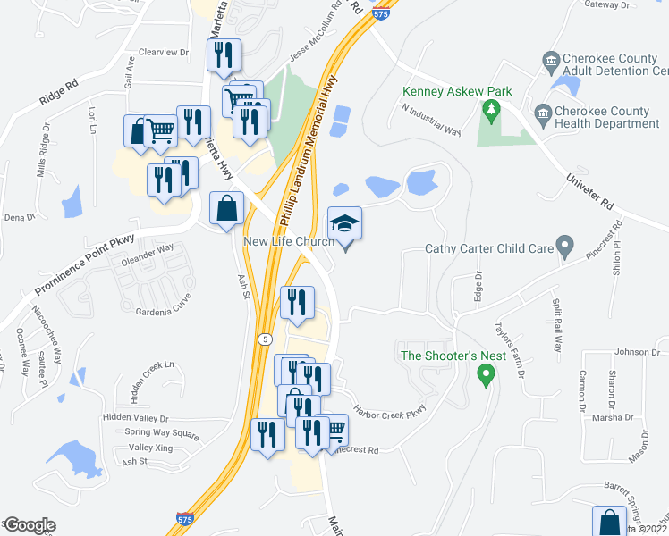 map of restaurants, bars, coffee shops, grocery stores, and more near 154 Lakeside Drive in Canton