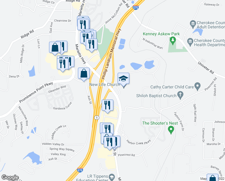 map of restaurants, bars, coffee shops, grocery stores, and more near 2200 Holly Springs Parkway in Canton