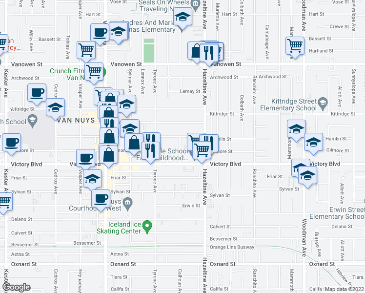 map of restaurants, bars, coffee shops, grocery stores, and more near 14159 Gilmore Street in Van Nuys