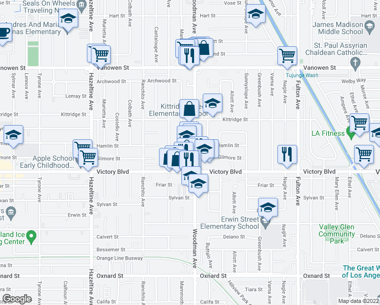 map of restaurants, bars, coffee shops, grocery stores, and more near 6450 Woodman Avenue in Los Angeles