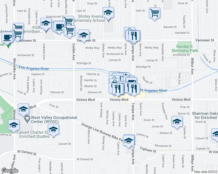 map of restaurants, bars, coffee shops, grocery stores, and more near 6452 Shirley Avenue in Los Angeles
