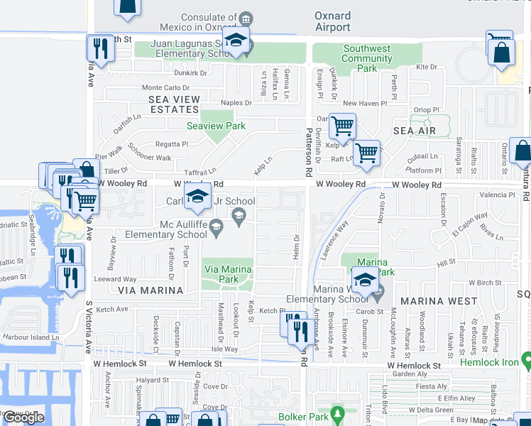 map of restaurants, bars, coffee shops, grocery stores, and more near 3070 Neap Place in Oxnard