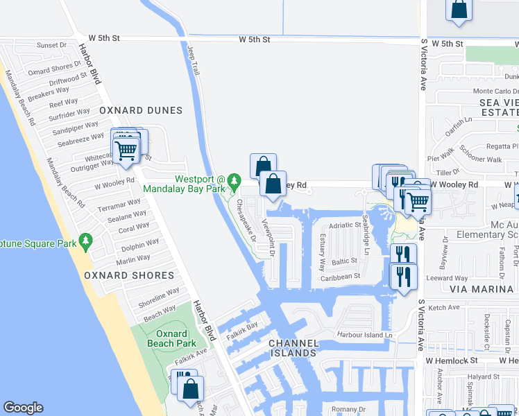 map of restaurants, bars, coffee shops, grocery stores, and more near 1202 Bayside Circle in Oxnard