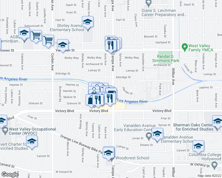 map of restaurants, bars, coffee shops, grocery stores, and more near 6529 Tampa Avenue in Los Angeles