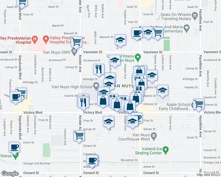 map of restaurants, bars, coffee shops, grocery stores, and more near 6535-6539 Cedros Avenue in Los Angeles