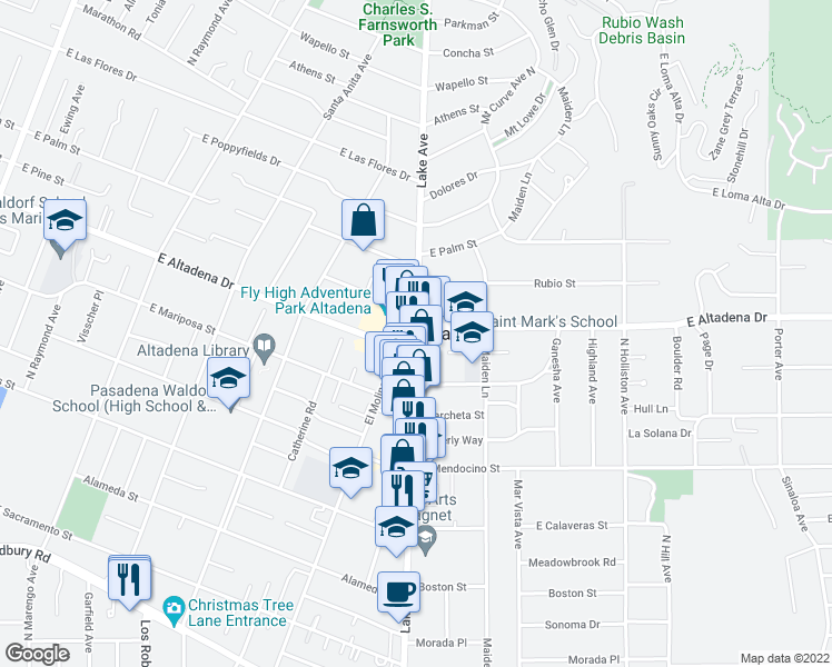 map of restaurants, bars, coffee shops, grocery stores, and more near in Altadena
