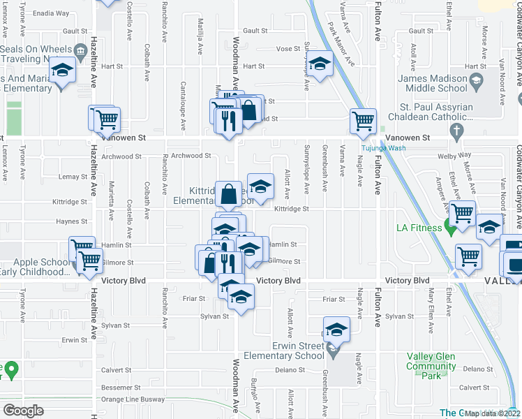 map of restaurants, bars, coffee shops, grocery stores, and more near 6631-6743 Ventura Canyon Avenue in Los Angeles