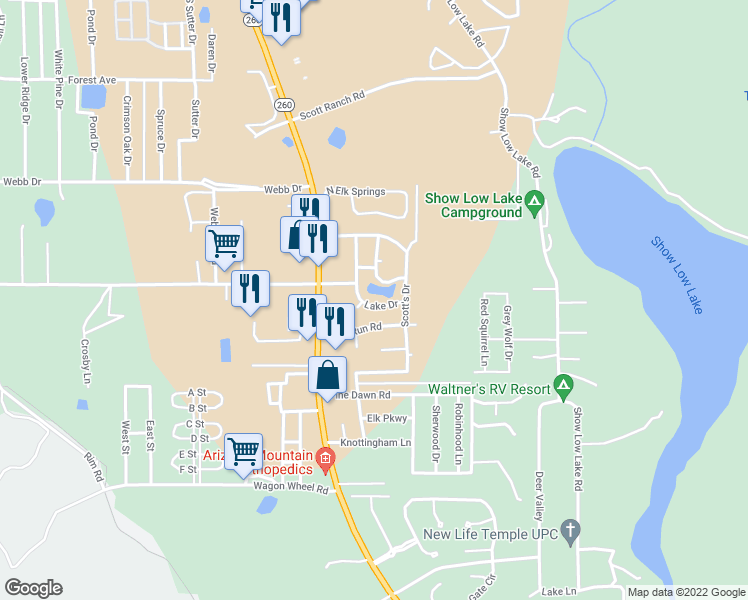 map of restaurants, bars, coffee shops, grocery stores, and more near 5382 Lake Drive in Navajo County