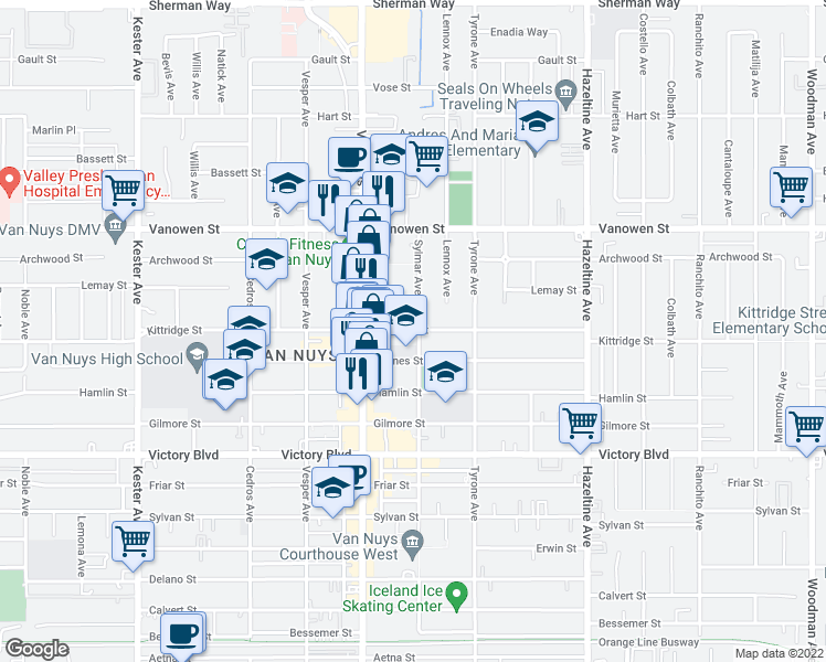 map of restaurants, bars, coffee shops, grocery stores, and more near 14429 Kittridge Street in Los Angeles