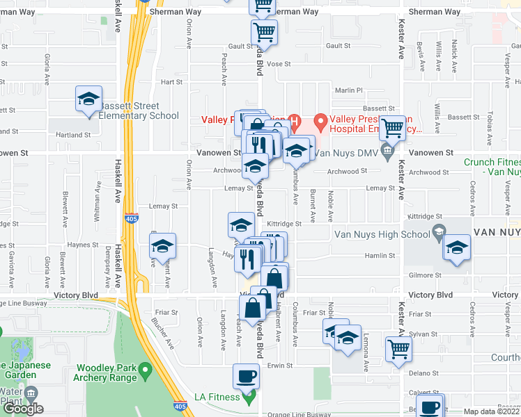 map of restaurants, bars, coffee shops, grocery stores, and more near 6628-6640 Sepulveda Boulevard in Los Angeles