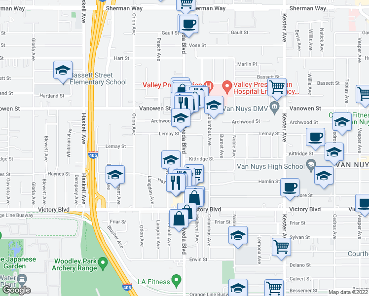 map of restaurants, bars, coffee shops, grocery stores, and more near 6628 Sepulveda Boulevard in Los Angeles