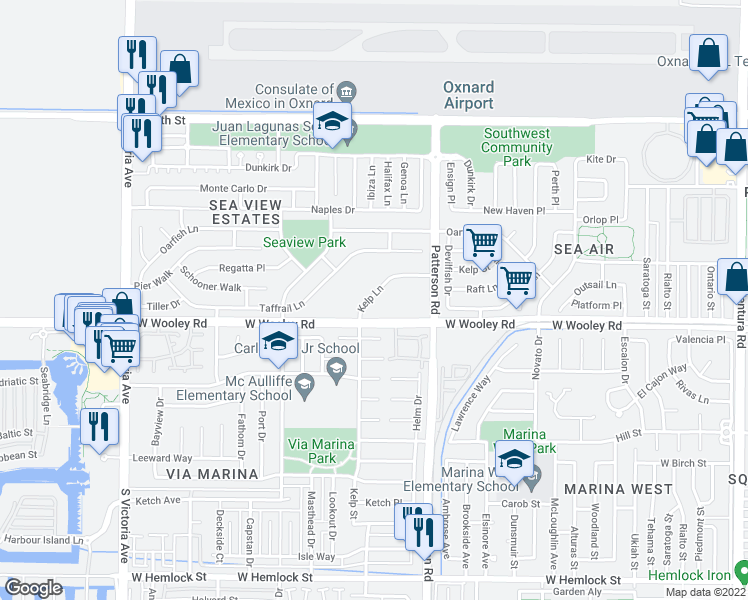 map of restaurants, bars, coffee shops, grocery stores, and more near 1018 Kelp Lane in Oxnard