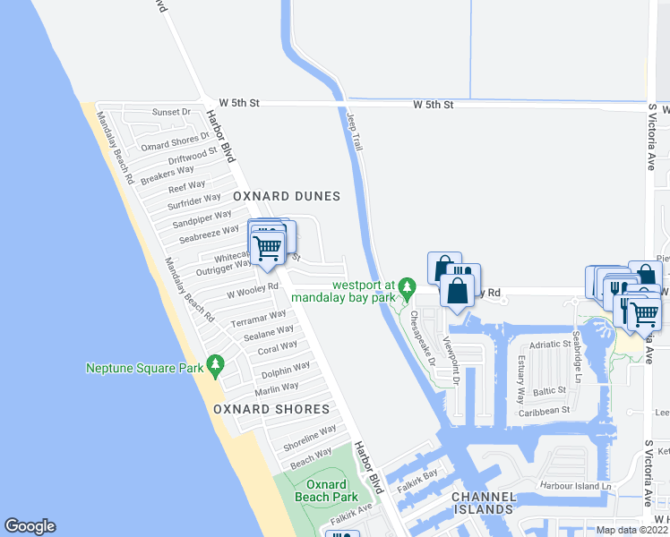 map of restaurants, bars, coffee shops, grocery stores, and more near 4812 Dunes Street in Oxnard