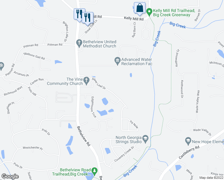 map of restaurants, bars, coffee shops, grocery stores, and more near 4795 Silver Leaf Drive in Cumming
