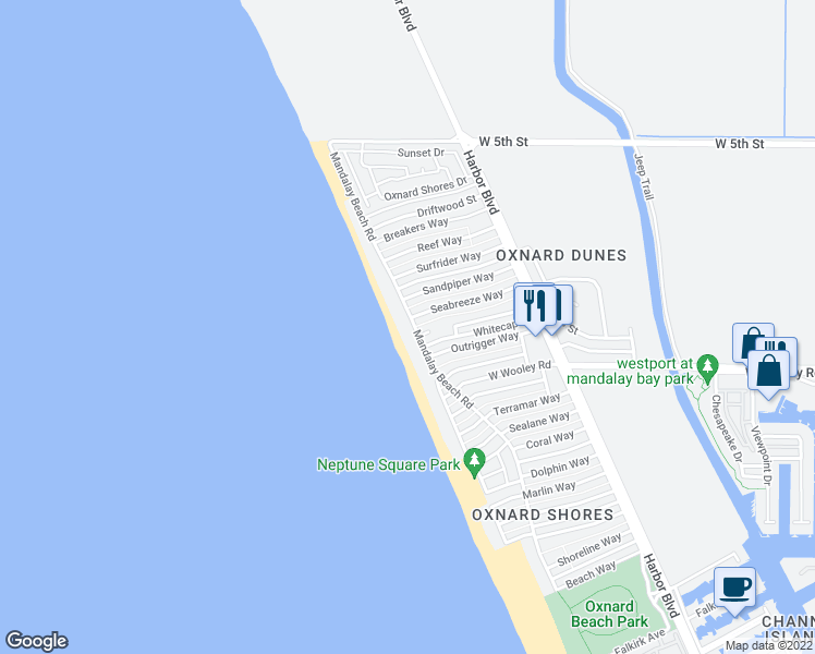 map of restaurants, bars, coffee shops, grocery stores, and more near 1011 Mandalay Beach Road in Oxnard