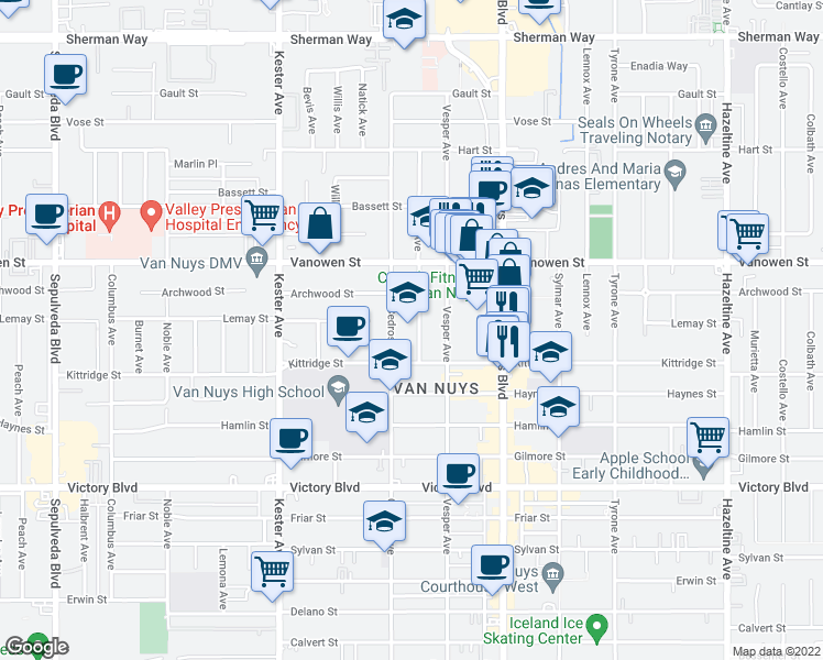 map of restaurants, bars, coffee shops, grocery stores, and more near 6711 Tobias Avenue in Los Angeles
