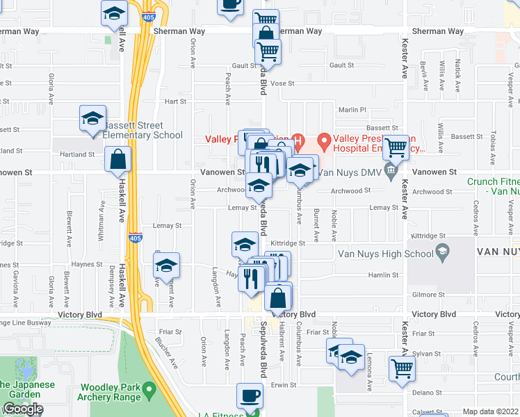 map of restaurants, bars, coffee shops, grocery stores, and more near 6919 South Sepulveda Boulevard in Los Angeles