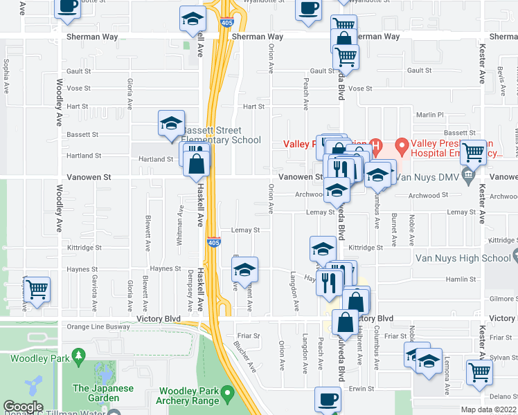 map of restaurants, bars, coffee shops, grocery stores, and more near 6707 Orion Avenue in Van Nuys