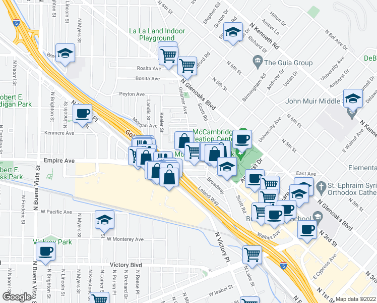 map of restaurants, bars, coffee shops, grocery stores, and more near Grismer Avenue & Rogers Place in Burbank