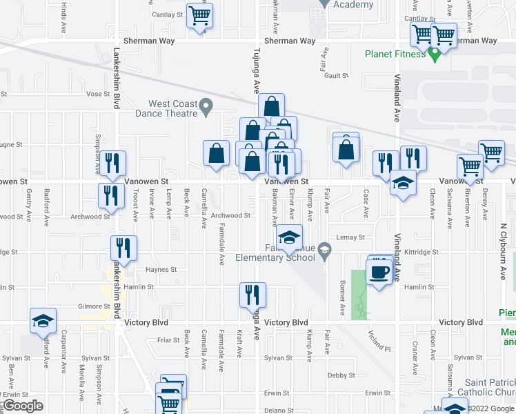 map of restaurants, bars, coffee shops, grocery stores, and more near 6707 Bakman Avenue in Los Angeles