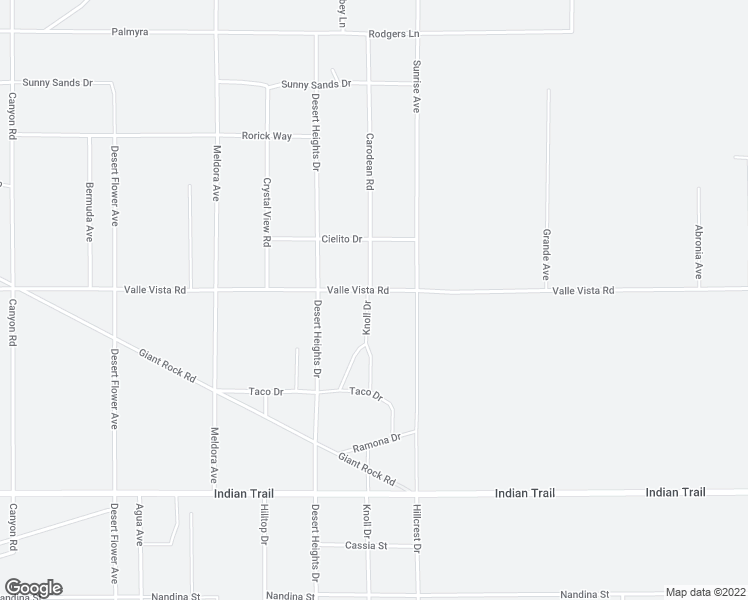 map of restaurants, bars, coffee shops, grocery stores, and more near 71209 Valle Vista Road in Twentynine Palms
